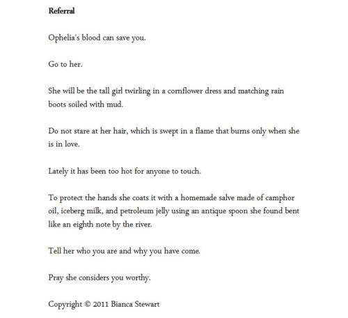 A beautiful poem by lesser-known author Bianca Stewart.
