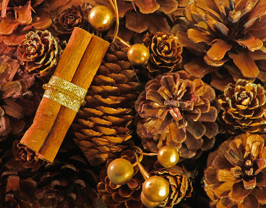 Make biodegradable decorations out of pine cones and cinnamon.