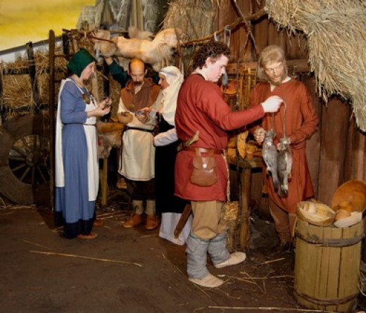 Jorvik fish merchant and customers