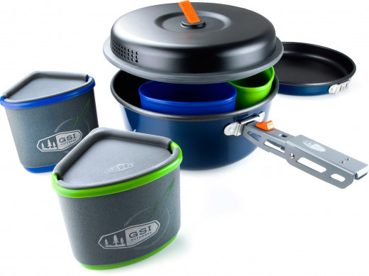 GSI Outdoors Bugaboo Backpacker Cook-set is light and has held up as best that a camping cookware set can when used three times a day for 4 months.