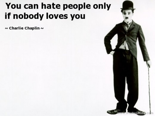 "black and white poster Charlie Chaplin quote"" You can hate people only if nobody loves you."""