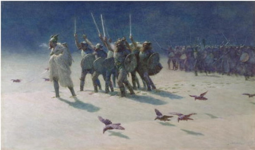 """The Ravager"", a painting showing Vikings in cold weather"