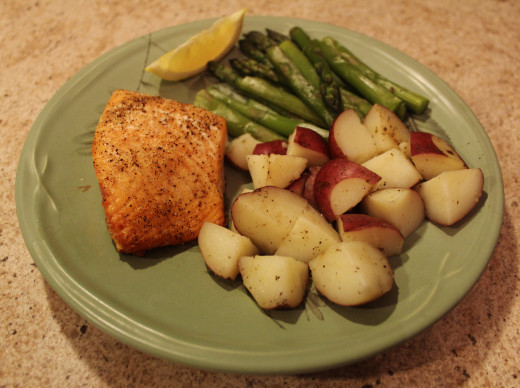 Baked Salmon, Red Potato and Asparagus