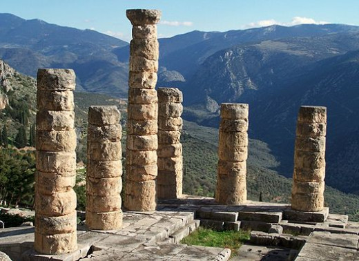 The remains of the Temple of Apollo in Delphi, Greece
