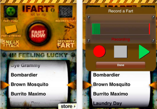 iFart screen shots. Available on iTunes.