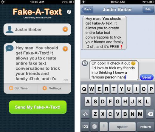 Fake-A-Text screen shot. Available via iTunes.