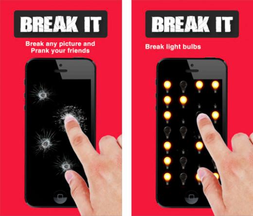 Crack & Break It screen shots. Available via iTunes.