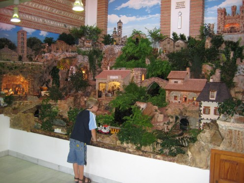 "My grandson looking at the giant scale model of ""Ciudad-Belen"""