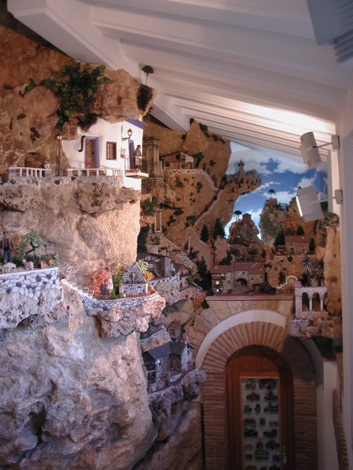 Scale models built into the rock face