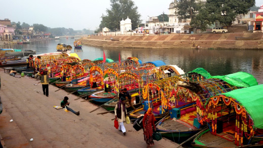 Decorated boats at Bharat Ghat