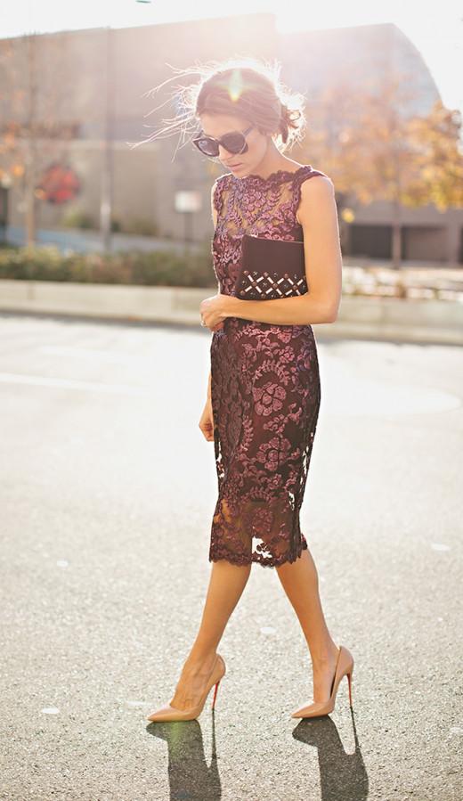 Shiny Maroon Sheer Lacy Dress