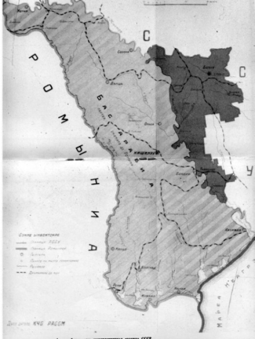 With black - the map of Moldavian Autonomous Soviet Socialist Republic (1924 - 1940). With gray - the map of Bessarabia, part of Romania between (1918 - 1940).