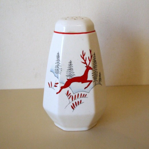 Vintage Crown Devon Sugar Sifter with Leaping Red Stag Deer Stockholm Pattern ( UK buyer in Surrey ) £35.59