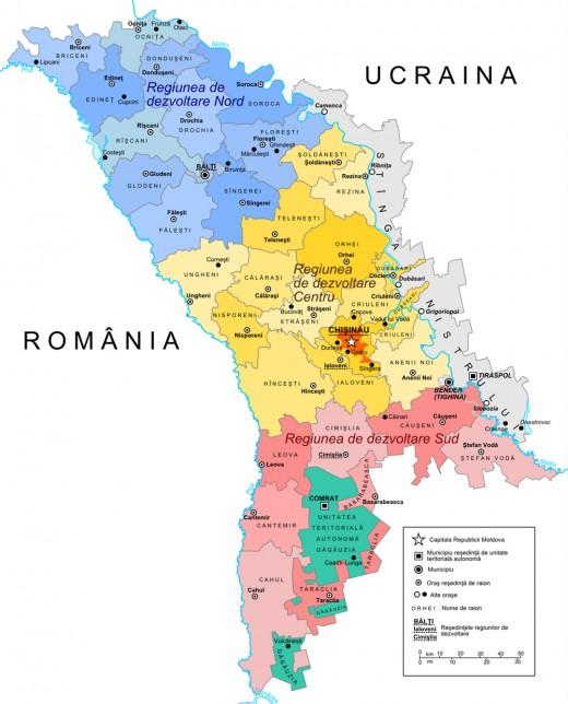Map of Moldova today