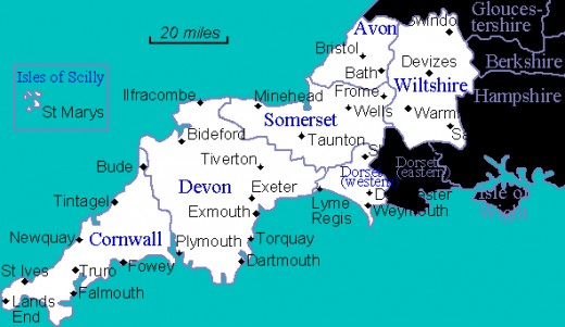 The West Country coastline - Godwin's lands lay around the Somerset shore in Wessex
