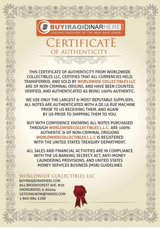This is an example of a Certificate of Authenticity also referred to as a COA.