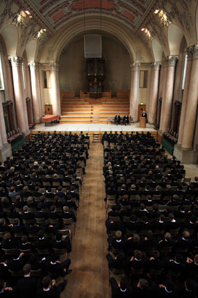 The assembly in the college chapel of Eton college. One of the UK's most prestigious boy's private schools.