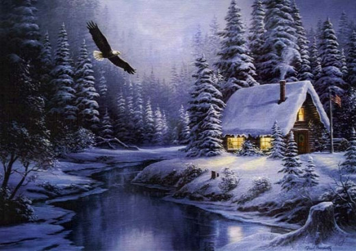 Painting: Cabin; in Oil