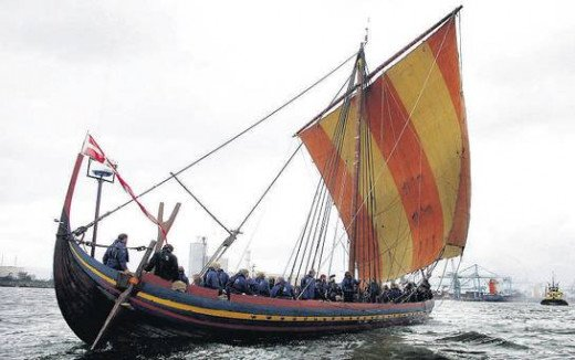 Sea Stallion closes on Dublin Dockyards on the last leg of her crossing from Roskilde - modelled on one of the Skuldelev ships found in Roskilde Fjord, she was found to have been made with Irish timber