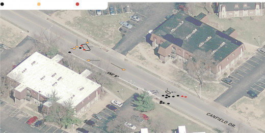 Aerial image diagram of evidence collected.