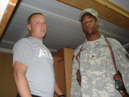 My Middle Son Eric on the right and his friend in the Military.  Personal Picture, you may not use copy, distribute likeness without written consent by owners.