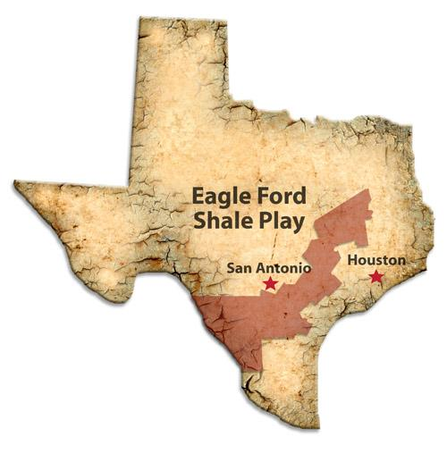 The Eagle Ford Shale extends over much of South and East Texas.
