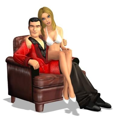 Hef relaxes in a luxurious leather chair with one of his many ladies.