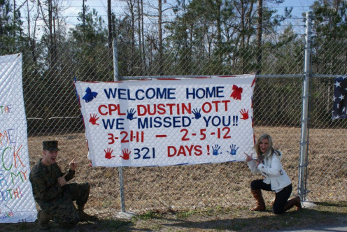 My daughter-in-law and my son's buddy prepared a Welcome sign for his return!  We counted EVERY day....every single day!
