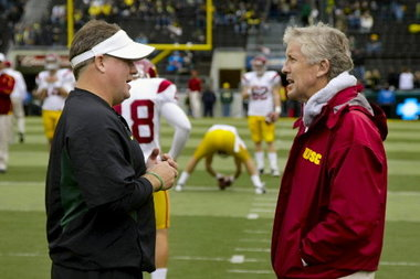 Chip Kelly and Pete Carroll during their college coaching days