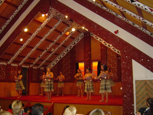 The exciting Maori Dance troupe perform the Haka a war chant and native dances in a Pa or Maori Meeting house