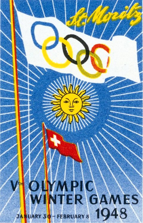 A poster with 1948 Winter Olympics, at St. Moritz.