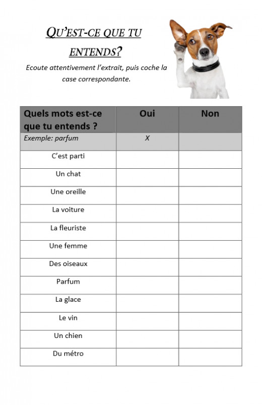 French listening activity for Amélie