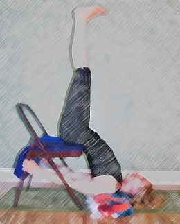 Final pose - shoulderstand in chair