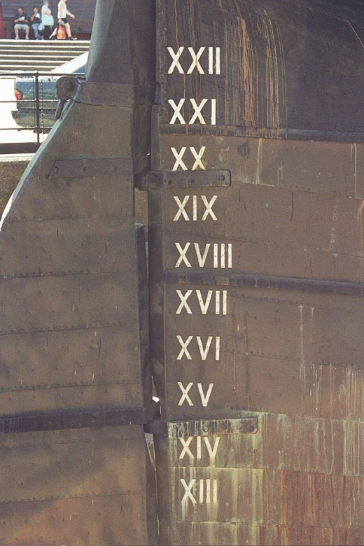 Roman numerals that show water level on the Cutty Sark.