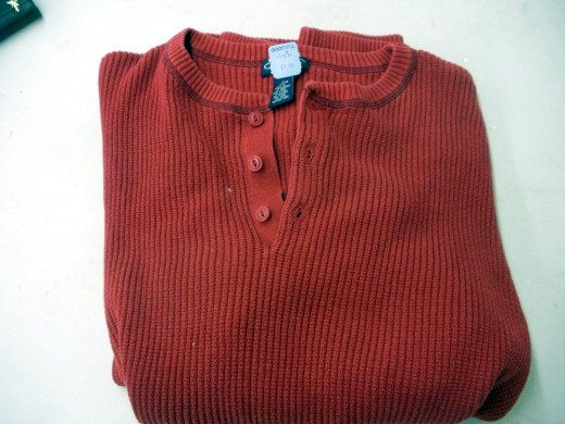 Start with a basic sweater, sweatshirt of thermal knit shirt
