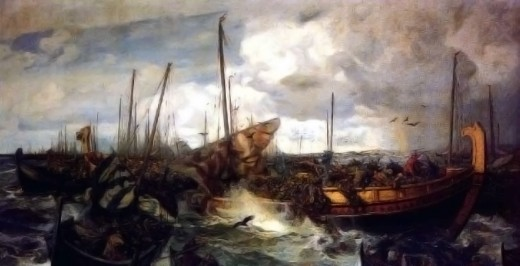 Otto Sinding painting of the Battle of Svold - Olaf had sown the seeds of his own downfall by imposing his new-found faith on the West Norse (Norwegians), by the sword