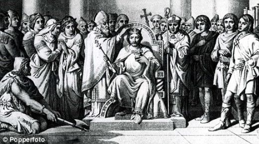 Coronation of Harold II, a more realistic (much later) image than that illustrated in the Bayeux Tapestry