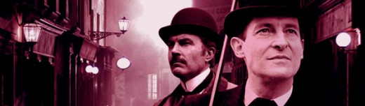 Jeremy Brett (as Holmes) and David Burke as Watson