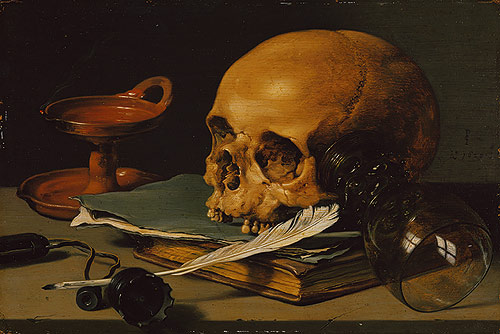 Skulls were often found in art as a symbolic reminder of the imminence of death