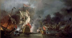 An English Ship in Action with Barbary Ships, circa 1680 (Artist Willem van de Velde, the Younger, Date 1678)