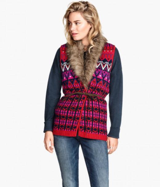 Jacquard-knit waistcoat  jumper $59.95