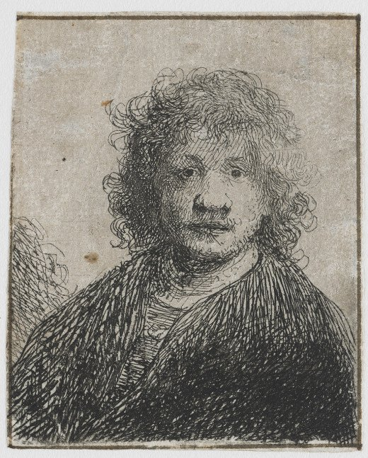 Self portrait with Wide Nose (c. 1626-1630) etching, pen and brown ink on paper