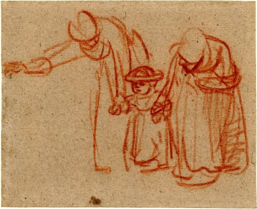 Two Women Teaching a Child to Walk (circa 1635-1637) - red chalk on gray paper