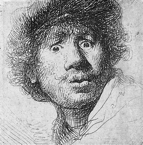 Self Portrait with a Cap, openmouthed (1630) etching