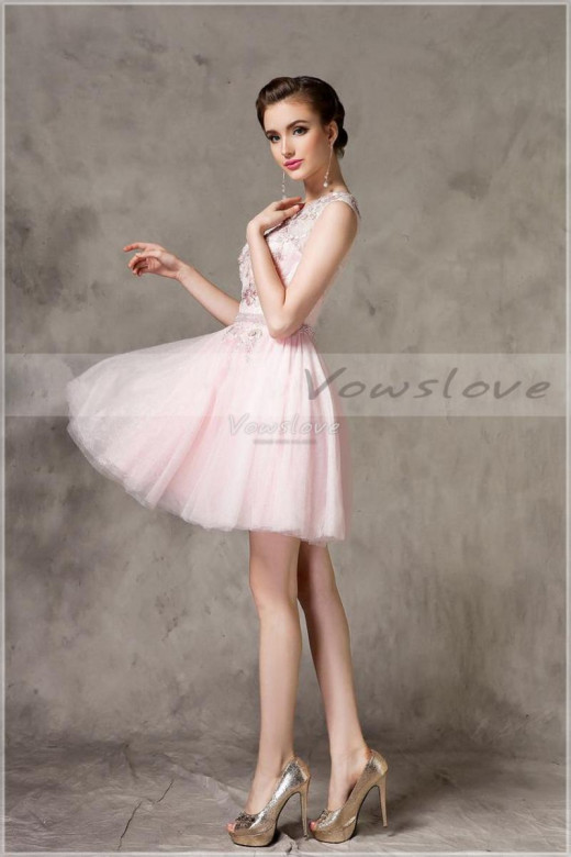 Baby pink short prom dress