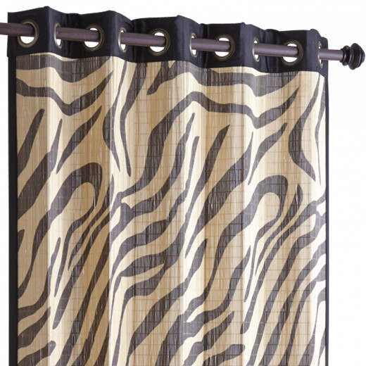 This zebra print panel is available at Pier One Imports in a variety of sizes. It's actually made of bamboo, so has a heavier weight than a typical curtain.