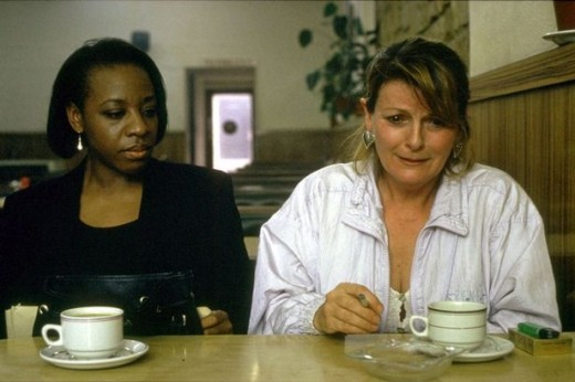 Secrets and Lies, movie still with Marianne Jean Baptiste and Brenda Blethyn.