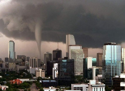 Although hurricanes are a relatively common threat to the city, tornadoes are rarely seen.  Despite this, tornadoes struck in 1925 and in 1997 (pictured).