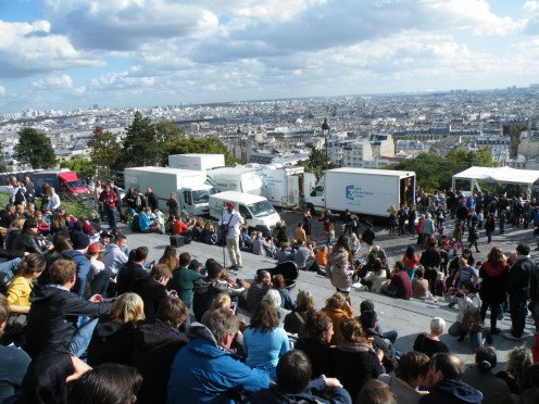 Watching the city of  Paris from Sacre Coeur.