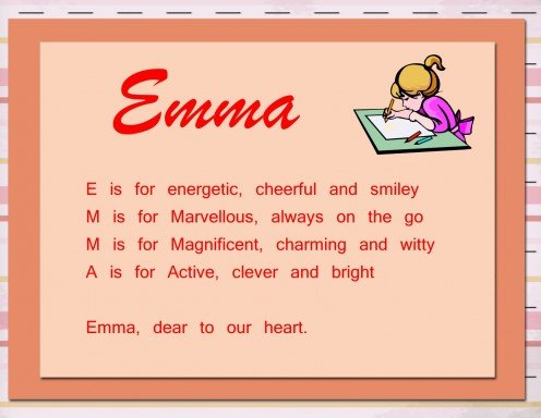 Acrostic name poems are simple poems in which each the first letter of each